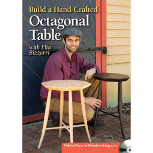 DVD cover for Build a Hand-Crafted Octagonal Windsor Table with Elia Bizzarri crouching next to tables