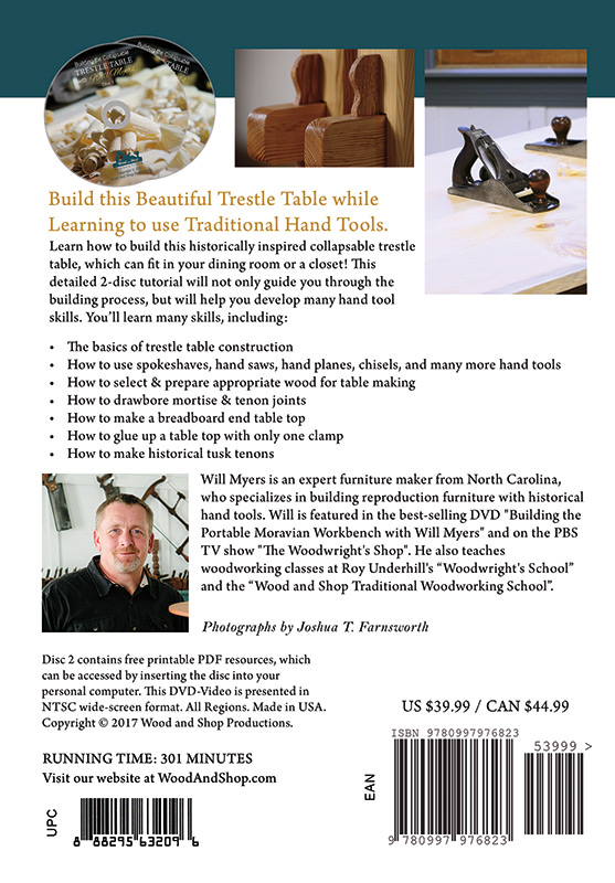Rear cover of DVD Building the Collapsable Trestle Table with Will Myers
