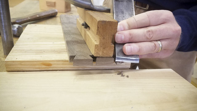 Woodworking students making a dovetailed moravian sliding lid walnut box with David Ray Pine at the Wood and Shop Traditional Woodworking School