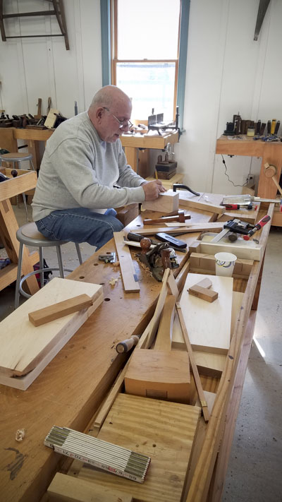 Woodworking students workbench fixtures or appliances with Bill Anderson at the Wood and Shop Traditional Woodworking School