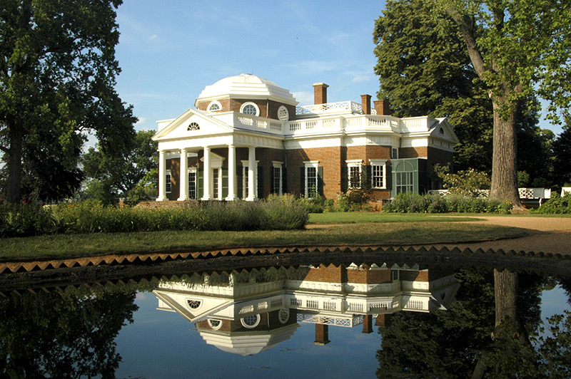Thomas Jefferson's Monticello home reflecting in a pond of water