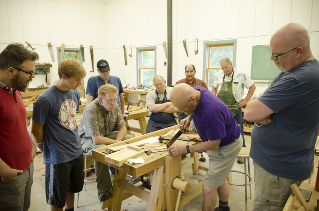 Bill Anderson woodworker teaching Woodworking students at the Wood and Shop Traditional Woodworking School