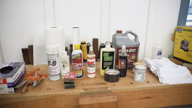 Rust removal products for Bill Anderson teaching a hand tool woodworking sharpening class at the wood and shop traditional woodworking school in Virginia