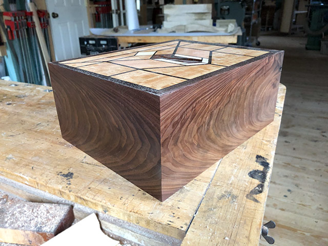 Veneered and inlaid box made by Dave Heller woodworker
