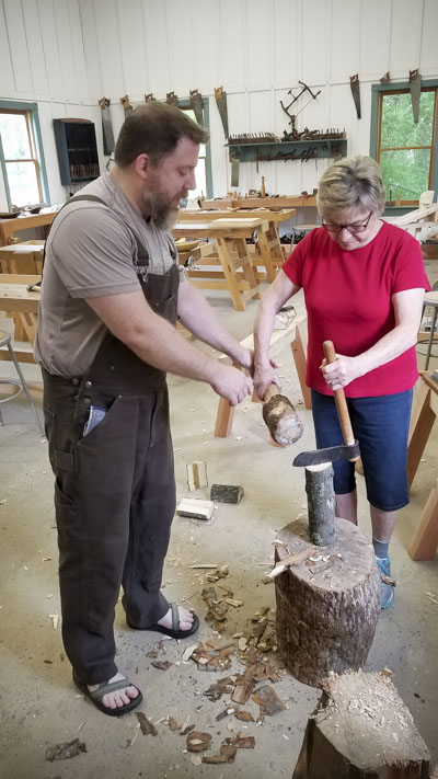Bowl carving and spoon carving green woodworking class with Mike Cundall at the Wood and Shop Traditional Woodworking School