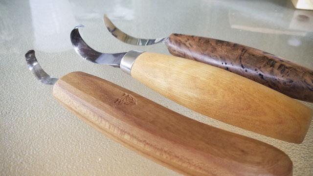 Bowl carving and spoon carving green woodworking class with Mike Cundall at the Wood and Shop Traditional Woodworking School hook knives