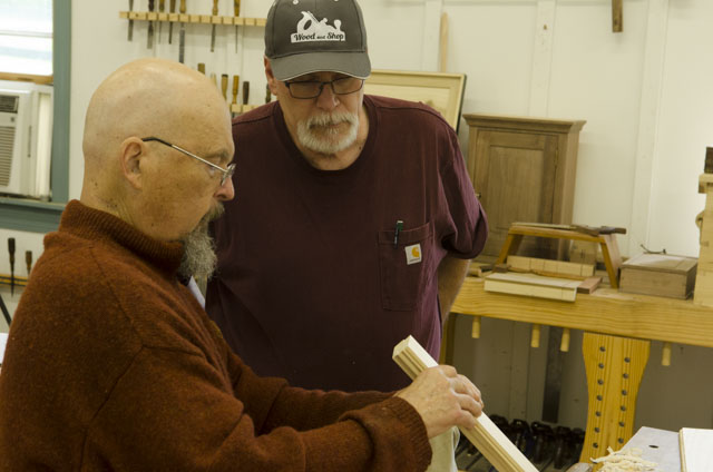 Woodworking students learning to hand cut moldings or mouldings with molding planes with Bill Anderson at the Wood and Shop Traditional Woodworking School